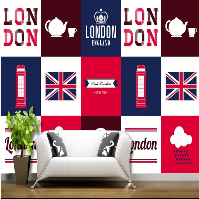Wallpaper 3d British Style Flag London Phone Kiosk England Fashion Backdrop  Wallpaper Living Room Restaurant Bedroom Part 67