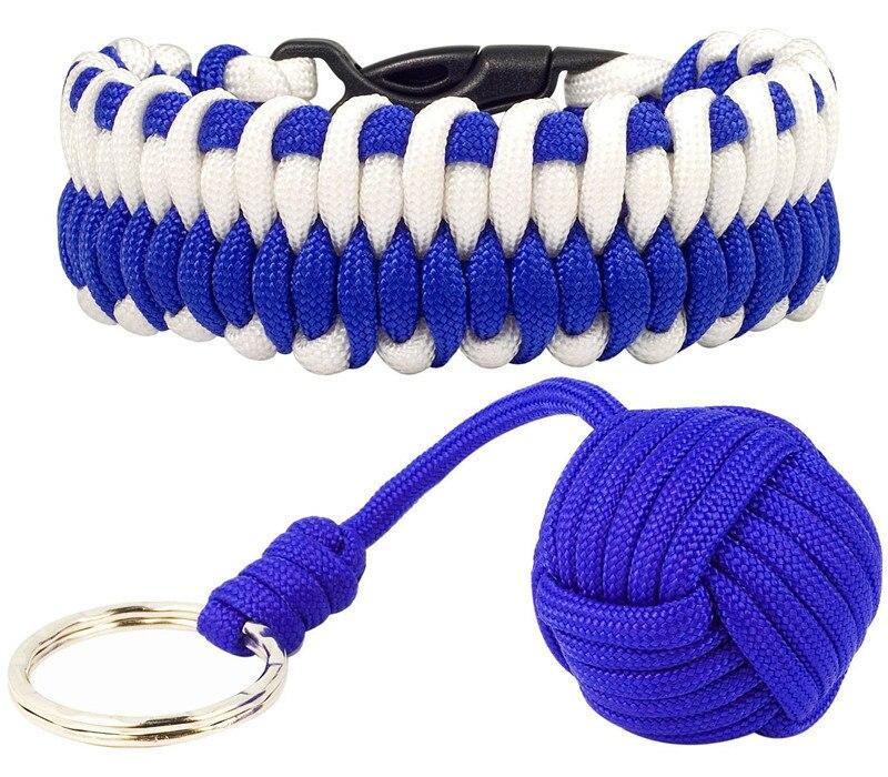 £ 550 Paracord Survival Bracelet e 550 Chave Paracord Colhedor Monkey Fist Self-defense Núcleo De Aço Keychain