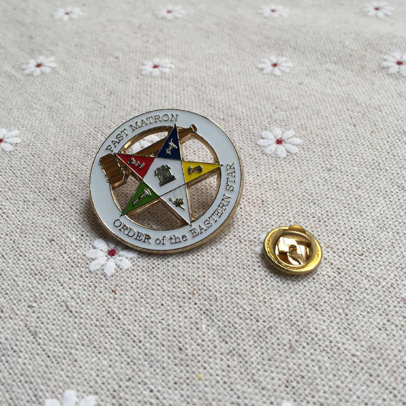 10pcs Custom Wholesale Masonic Enamel Pin Badges Freemasonry Lapel Pin Past  Matron Order of the Eastern Star Brooches