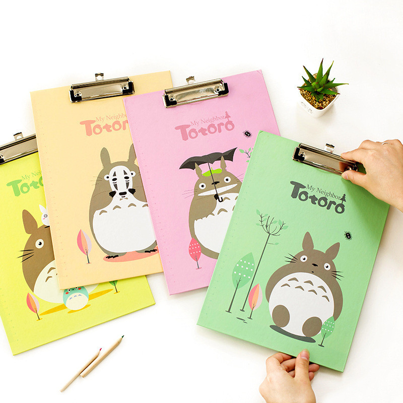 A4 Totoro Kawaii Clipboards Cute Anime Stationery Store Clip Folder Board Desk File Drawing Writing Pad School Office Accessory