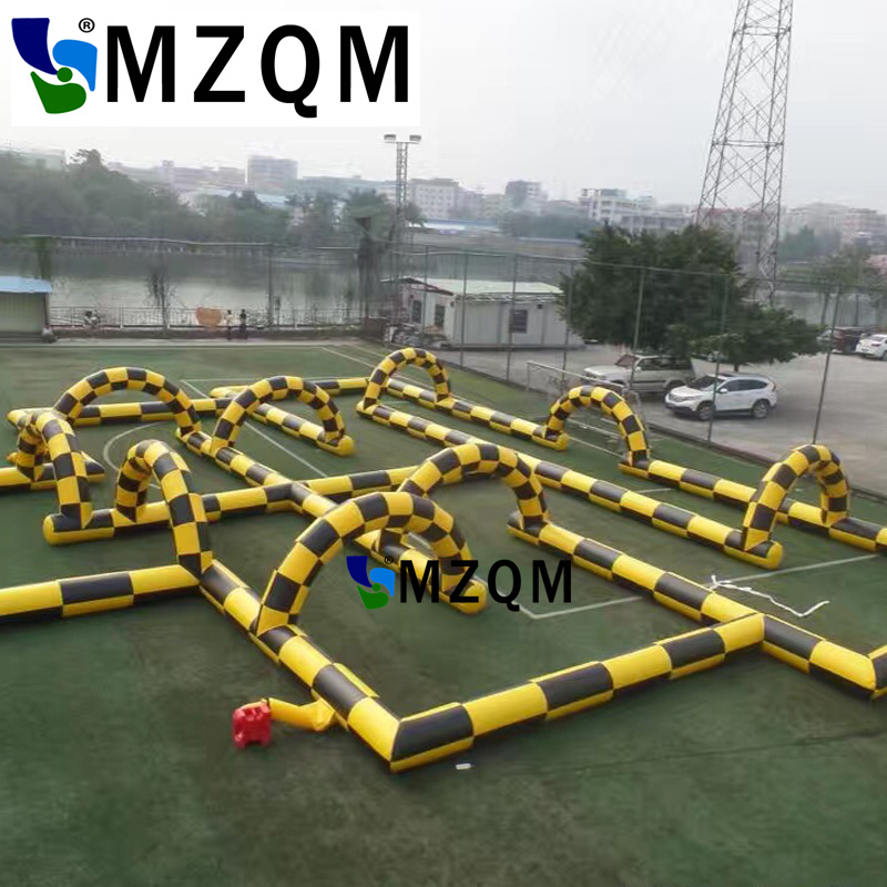 MZQM 30*15m Free shipping Toys Outdoor PVC material High quality zorb ball track race inflatable go kart track for sale free shipping pvc material inflatable baby bouncers hot sale 3 75x2 6x2 1 meters small mini bouncy castles for outdoor toys