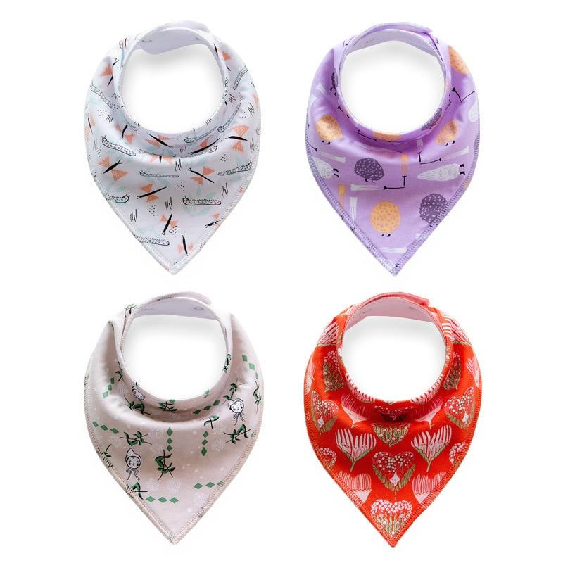 4pcs/lot Baby Bibs Burp Saliva Towel Printing Cartoon Cloths Triangle Scarf Cotton Bandana Boys & Girls Bib Kids Accessories
