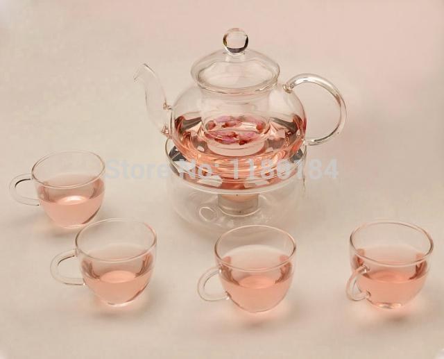 6pcs / lot Glass Tekanne 600ml + 4pcs 80ml Glass Te Cup + 1pc varmebase Heat Resistance Glassware Kaffe Te Cup OL 0008