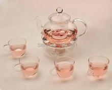 6 unids/lote Tetera de Cristal 600 ml + 4 unids 80 ml de Vidrio Taza de Té + 1 unid HeatResistance base de calor Cristalería Coffee Cup Tea OL 0008
