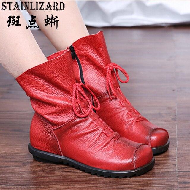 Осень Ботильоны из натуральной кожи дамы Повседневное теплые Удобная обувь зимние ботинки женская обувь adt1041