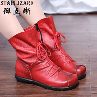 Autumn Genuine Leather Ankle Boots Ladies Casual Warm Comfortable Flat Winter Boot For Women Footwear Female