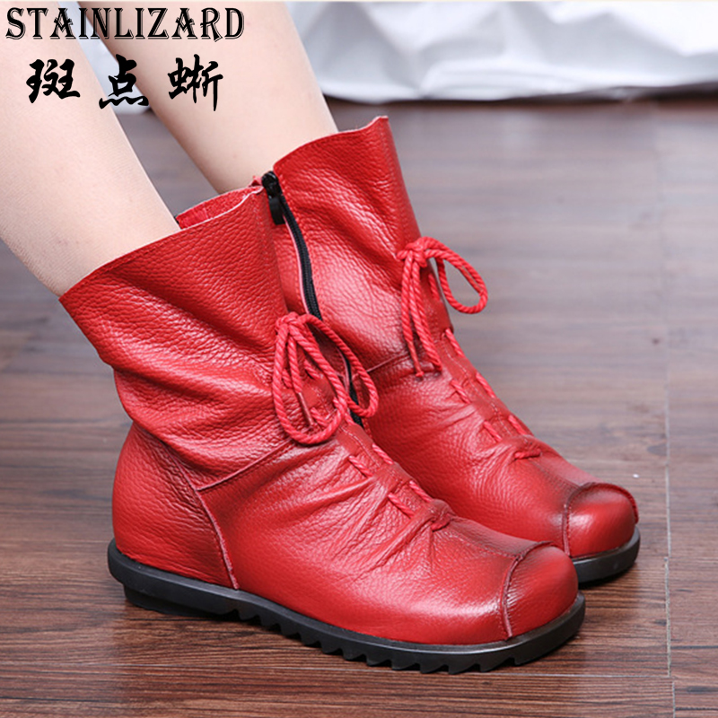 Autumn Genuine Leather Ankle Boots Ladies Casual Warm Comfors