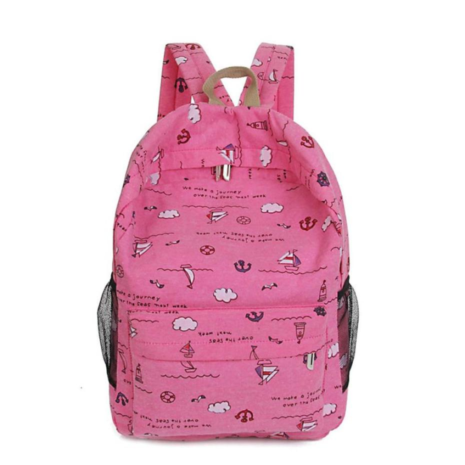 Cartoon Printing Women Canvas Backpack Schoolbag Backpack Travel Backpacks Shoulder Casu ...
