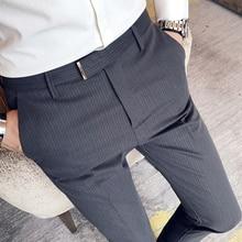 Slim Fit Stripe Men's Social Trousers Black Grey Full Length Men Dress Pants Slim Fit Pantalon Costume Homme Men Formal Pant