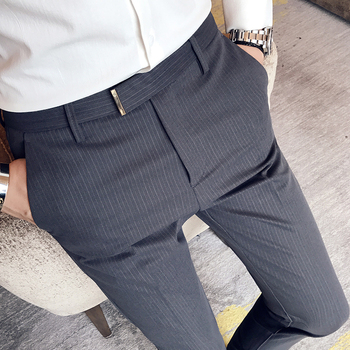 e419300e9 Hombres Stripe Gris De Social Fit Slim Pantalones Negro 0EAnfqw
