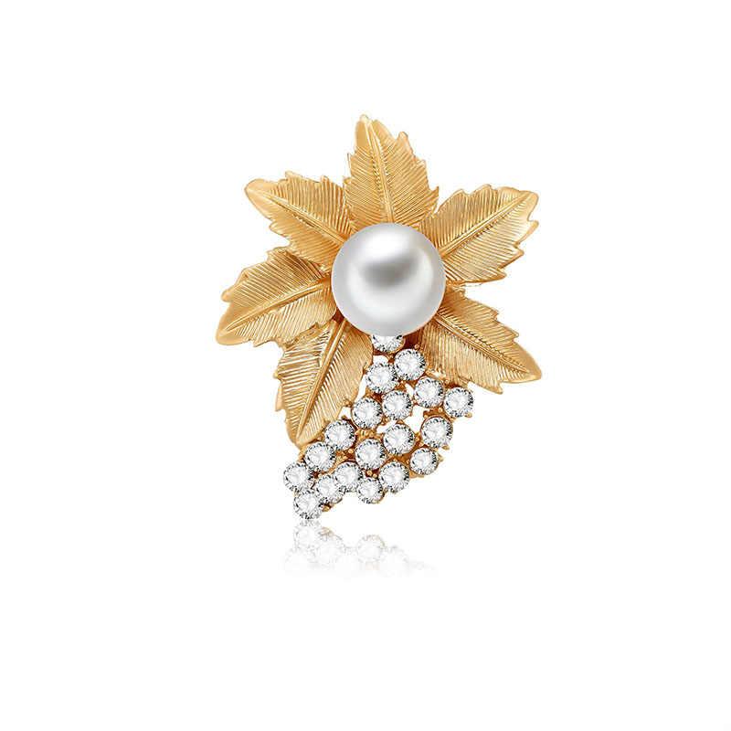 Yinxu 2018 Imitasi Mutiara Bros Enamel Bunga Daun Kuda Bros Pin untuk Wanita Lencana Kerah Gaun Kristal Pakaian Perhiasan
