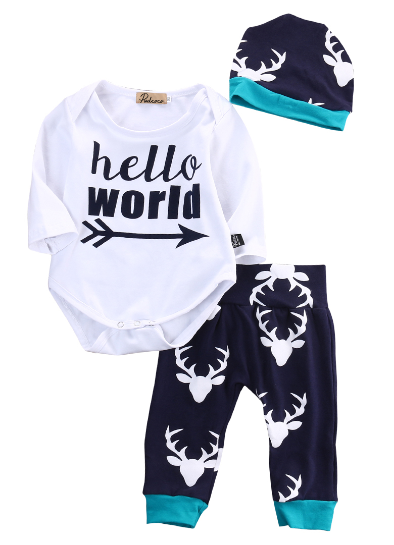 2pcs!!Kids Baby Girl Boy Cotton Letter Print Long Sleeve Tops Romper+Deer Leggings Pants Outfits Set Clothing 2pcs children outfit clothes kids baby girl off shoulder cotton ruffled sleeve tops striped t shirt blue denim jeans sunsuit set