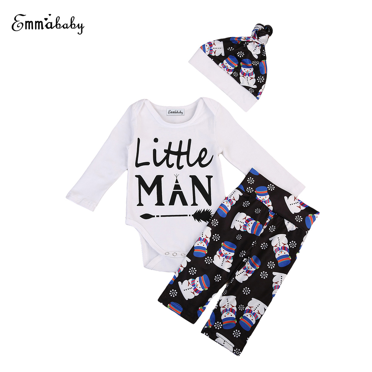 3Pcs Newborn Baby Boy Clothes Long Sleeve Tops Romper+Pants+Hat Outfits Set Clothing Cute