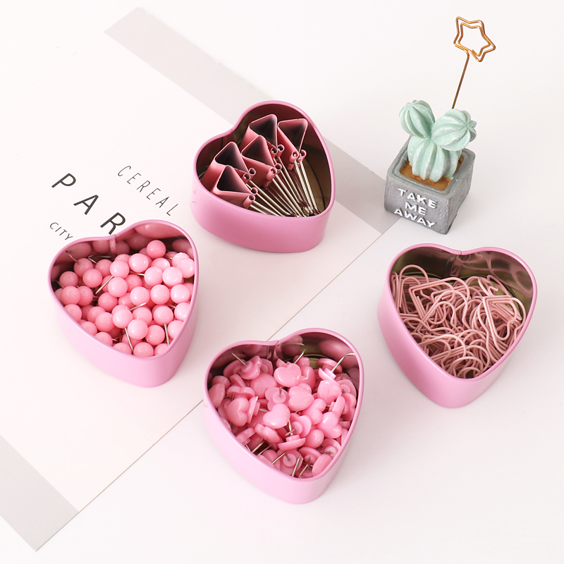 Stationery Clips Thumbtack-Set Tickets-Notes Letter Push-Pin Pink Kawaii Binder Clear