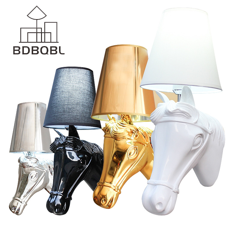 BDBQBL Modern Nordic Style Horse Head Wall Lamps Sconces Light Living Room Loft Wall Light Fixtures White/Black/Silver/Gold