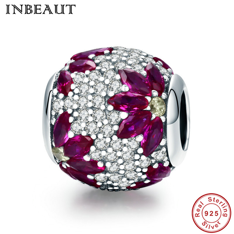 INBEAUT Real 925 Sterling Silver Round Zircon Stones Wine Red Falling Flower Cubic Zirconia Beads fit Pandora Bracelet for Women