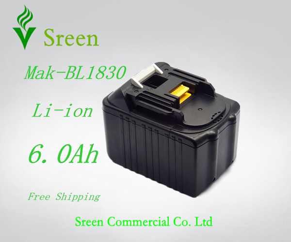 New Rechargeable Battery for 18V Lithium Ion 6000mAh Replacement Power Tool Battery Packs Makita BL1830 LXT400 194205-3 BL1840 18v 6000mah rechargeable battery built in sony 18650 vtc6 li ion batteries replacement power tool battery for makita bl1860