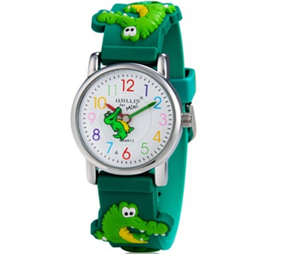 3D Cartoon Crocodile Design Analog Band Little Boys Girls Children Wrist Kids Watches,Waterproof