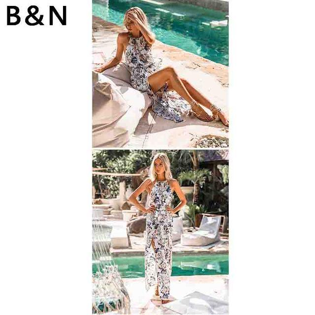 c670c4ca02d High slit design sexy Halter Tunic long dress boho floral print maxi women  beach vacation petticoat party dresses