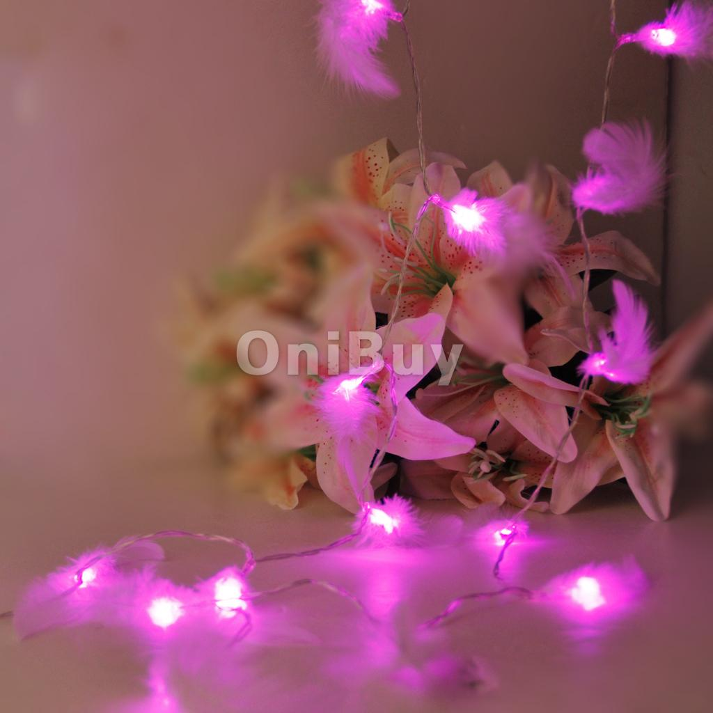 20LED 83inch Battery Operated Christmas Wedding Feather String Lamp Fairy Decorative Lights DIY Home Party Wedding Decoration