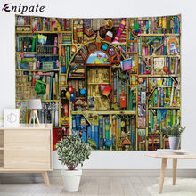 Enipate Mysterious Library Tapestry Wall Art Secret Door Bookshelf Wall Tapestries Table Cloth Bedroom Living Room Decoration(China)