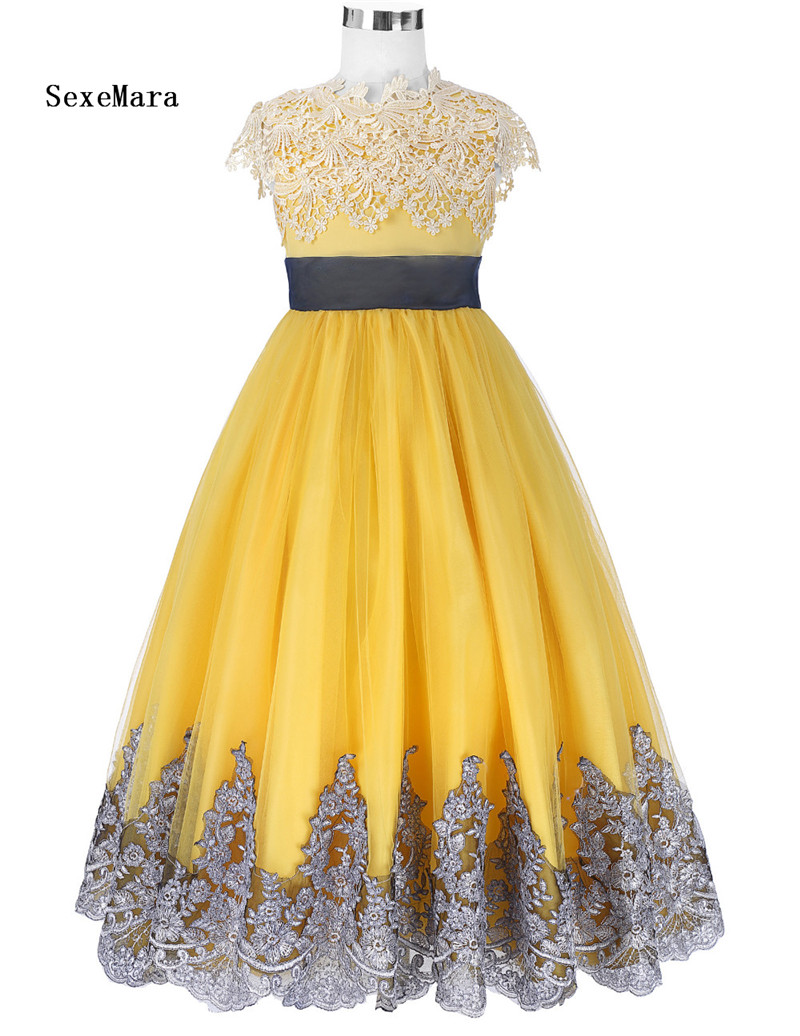 Real Picture Girls Dresses Ball Gown Yellow Flower Girl Dresses for Wedding Party Pageant Communion Gowns Kids Children Dress 2016wedding gowns kids formal party christening communion flower girl dresses infant pageant dresses for little girls 80 130cm