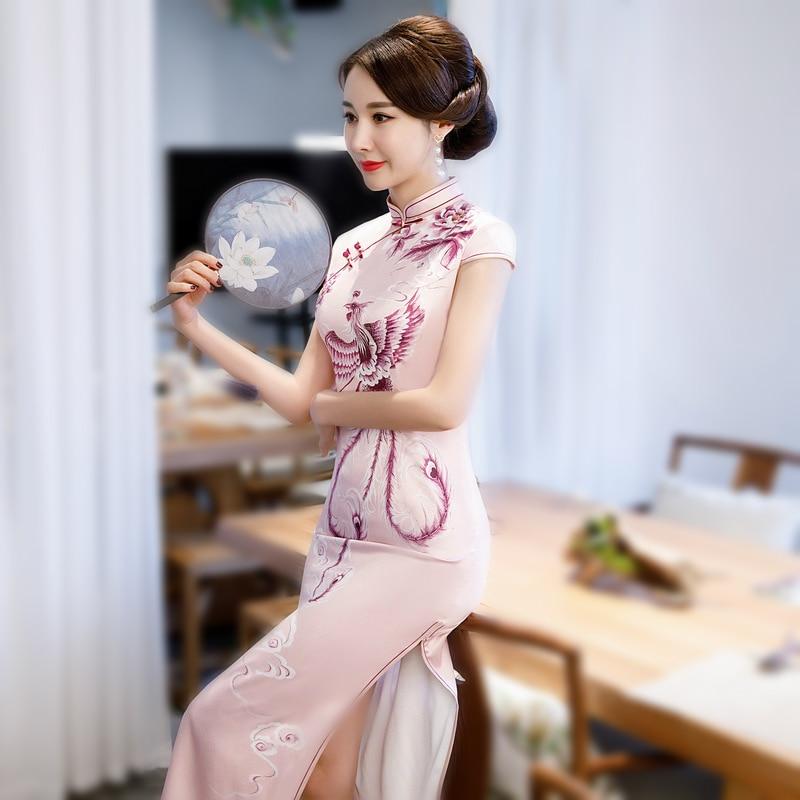 SHENG COCO Pink Phoenix Qipao Evening Dresses Lady Rayon Satin Cheongsam Traditional Chinese Painted Phoenix Dress Long Qipao Qi