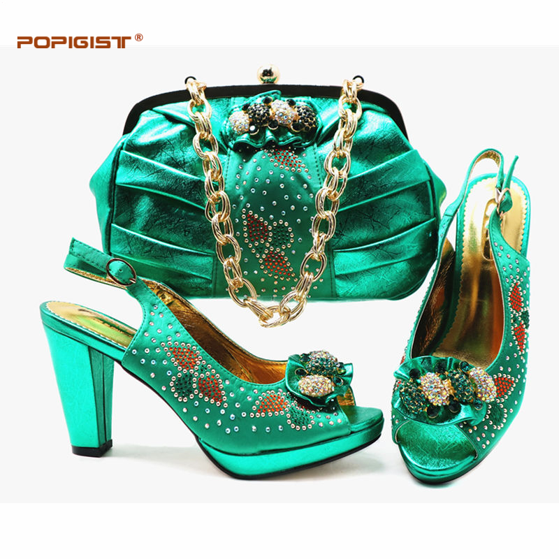 Latest Fashion Italian Ladies Shoes and Bag To Match Set Decorated with Rhinestone Shoe and Bag