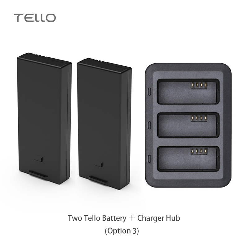 DJI Tello Battery and Battery Charger Hub RYZE Original Flight Battery 1100 mAh 3.8V Lipo 4.18 Wh for DJI Tello Drone Accessory tello battery charging hub designed for use with tello flight batteries accommodate up to 3 tello batteries at the same time