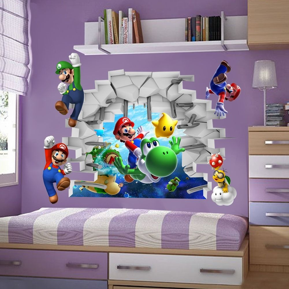 Kids Games Super Mario Bros 3d View Art Wall Stickers