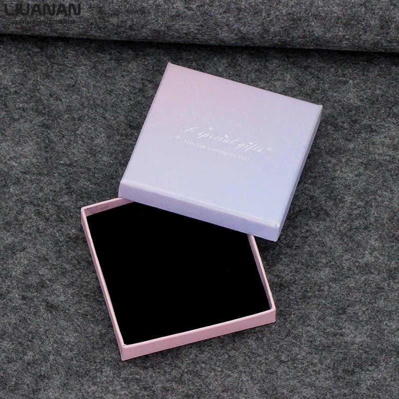 Schmuck Boxen Papier Geschenk Box Licht Lila Schwarz Samt Tasche Halskette Armband Armreif Anhänger Schmuck Fall Geschenk Box Einfache Stil