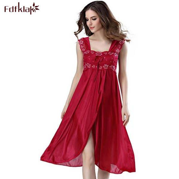 2cb6f43c009 Online Shop Summer Dress 2019 Lace Sleeveless Lingerie Sexy Women Nightwear  Silk Night Gowns Satin Nightgown Sleepwear Red Black Pink Q134