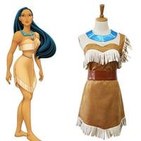 Halloween Costume Pocahontas Cosplay Indian Girls Anime Bueaty Sexy Princess Dress Adult Women