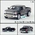 Candice guo aleación modelo de coche 1:46 Kinsmart plástico motor Chevrolet silverado pickup truck kid regalo de cumpleaños regalo de navidad 1 unid