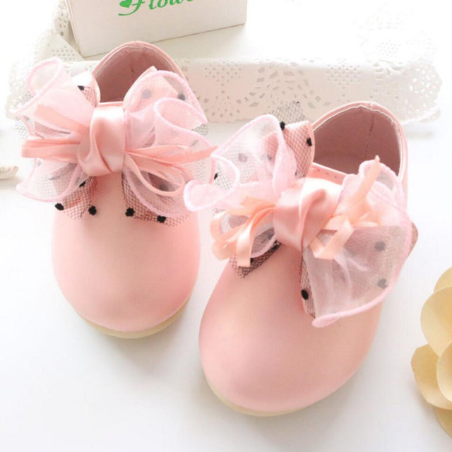 Baby Shoes 2016 New Girl Butterfly big Bow Pearl Rhinestone Princess Soft Baby's Leather Shoes Toddler First walker dance shoes