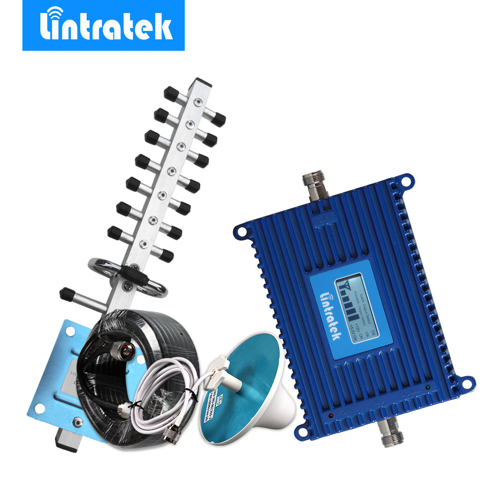 Lintratek 3G Repeater 2100 UMTS Handy Repeater 70dB Gain Signal Booster LCD Display Verstärker 2100 MHz Repetidor Yagi Kit 3G #35