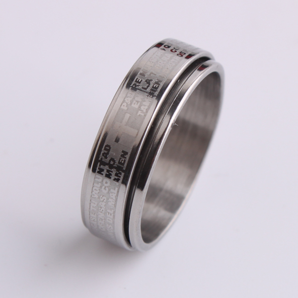 free shipping 7mm silver cross Holy Bible Double layer Rotation 316L Stainless Steel finger rings for men jewelry wholesale