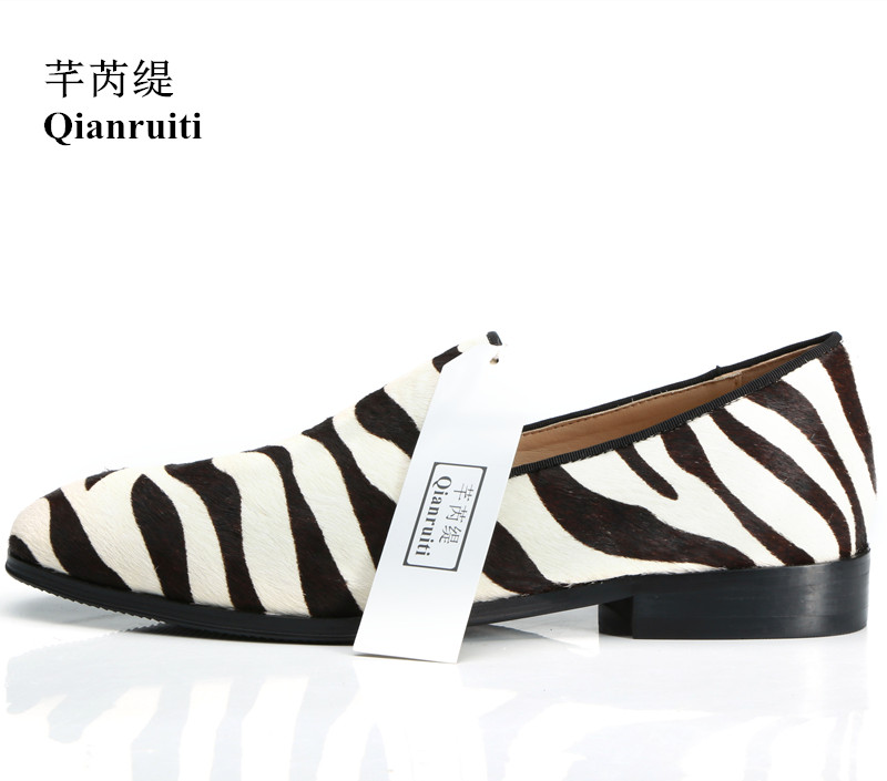 Qianruiti Fashion Design Handmade Horsehair Men Shoes Slip on Zebra Prom Daily Footwear Style Casual Shoes for Men EU39 47