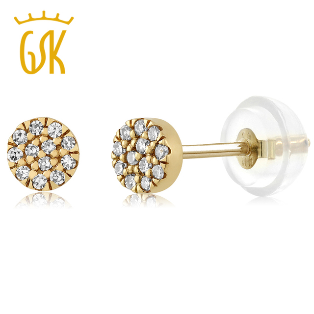 US $143 99  GemStoneKing 10K Gold Gold Halo Illusion Earrings 0 08 cttw  Natural Diamond Pave Disk Stud Earrings Post with Friction Back-in Earrings