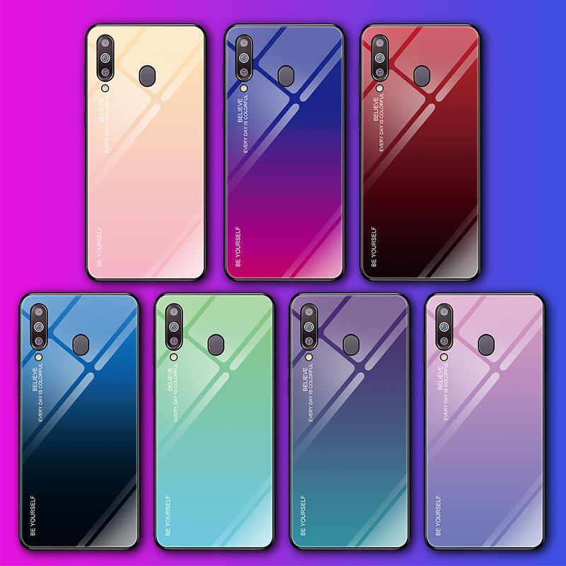 Gradient Tempered Glass Phone Case For Samsung Galaxy A7 A6 A8 A9 J4 J6 J8 Plus 2018 A5 M10 M20 M30 A20 A30 A50 A10 Cover Case