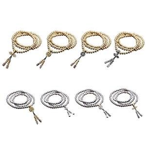 Image 2 - Novo 108 contas de buda colar de aço completo corrente ao ar livre auto defesa mão pulseira corrente edc proteção pessoal multi ferramentas