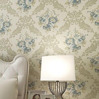ФОТО Blue Flower Damask Wall Paper Roll 10m papel de parede floral DZK36