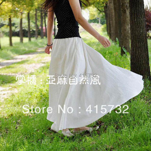 Free Shipping 2017 New Fashion Black And White Linen Maxi Long Skirt For Women Summer Solid Color Waisted Plus Size Cotton Skirt