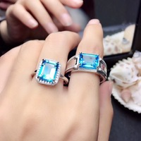 Couple Rings Natural Topaz Lover's Ring 925 sterling silver 8*10mm