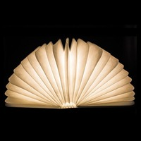 White WarmWhite LED Night Light Folding Book Light USB Port Rechargeable Wooden Magnet Cover Home Table