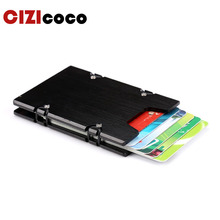 купить Metal Aluminum Credit Card Holder Fashion Business Card Case for Men and Women RFID Metal ID Card Holder Wallet дешево