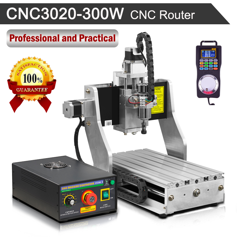 300W Spindle Motor CNC Router Machine Water-Cooled 3020 Worktable 220V Engraving With Wireless Pendant Handwheel