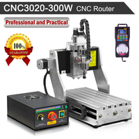 300W Spindle Motor CNC Router Machine Water Cooled 3020 Worktable 220V Engraving with Wireless Pendant Handwheel