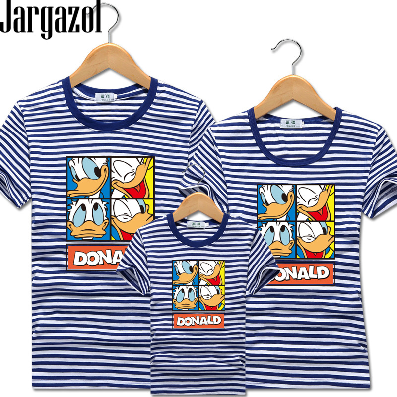 Jargazol Family Matching Clothes Cartoon Duck Printed Summer T Shirt Mommy And Me Family Look Dad Son Daughter Outfits Clothing