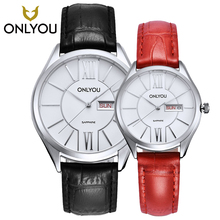 New Top Brand ONLYOU Fashion Women Watches Rose Gold Analog Date Display Lovers Watch Leather Watchband Quartz Wristwatch Clock